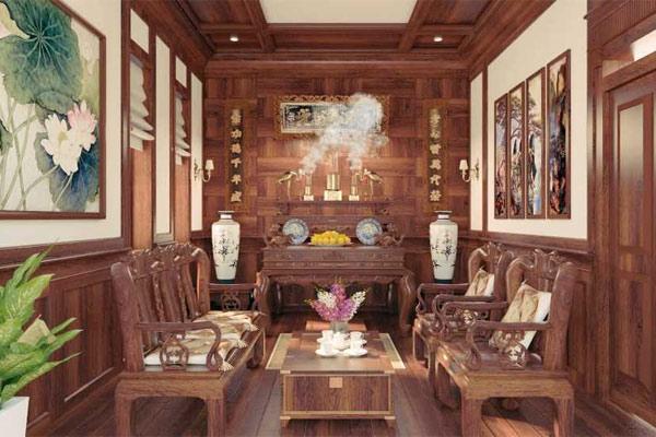 Mẫu phòng khách có bàn thờ đẹp 3