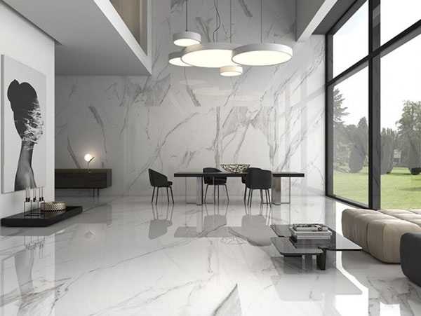 Gạch ốp tường phòng khách bằng đá Marble