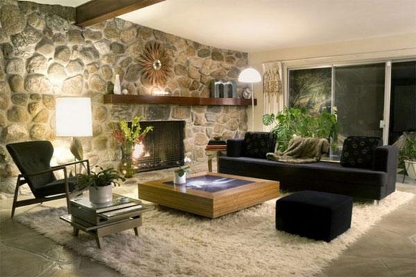Mẫu gạch ốp tường phòng khách bằng đá tự nhiên