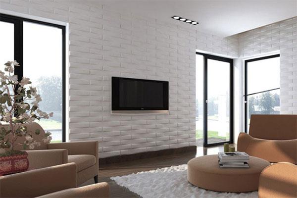 Gạch ốp tường phòng khách 3D