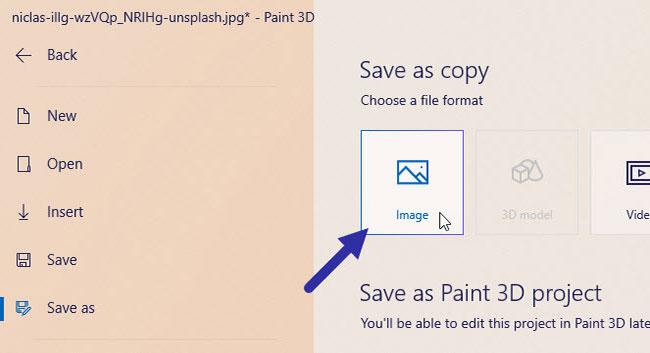 """Nhấp vào nút """"Image"""""""
