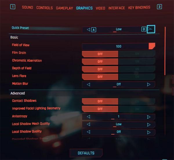 cyberpunk 2077 settings gtx 750ti