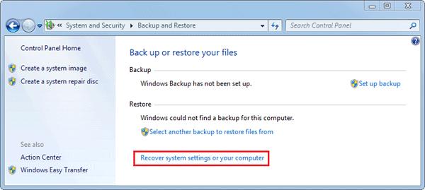 """Nhấp vào """"Advanced recovery settings"""""""