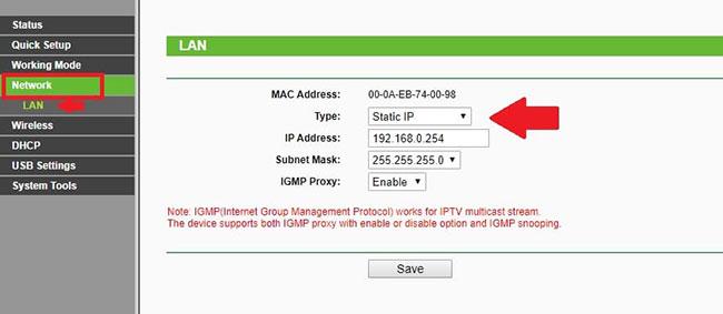 Đi tới Network > LAN và thay đổi địa chỉ IP