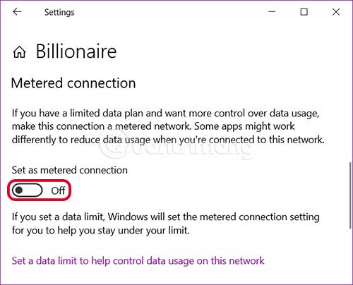 Bật tính năng Metered connection