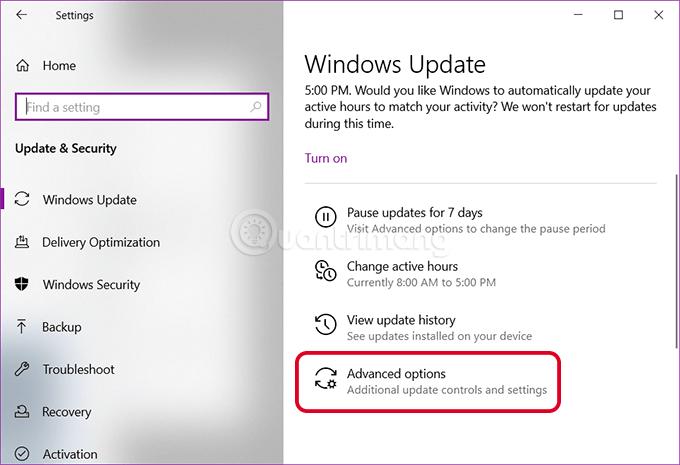 Mở tùy chọn nâng cao của Windows Update