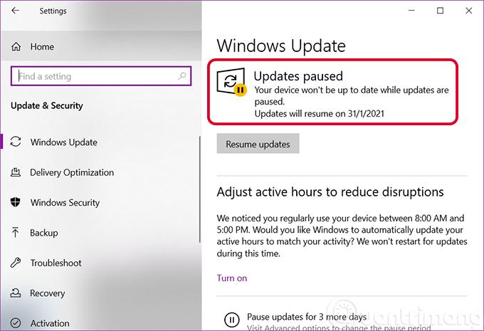 Bản cập nhật Windows 10 đã tạm dừng