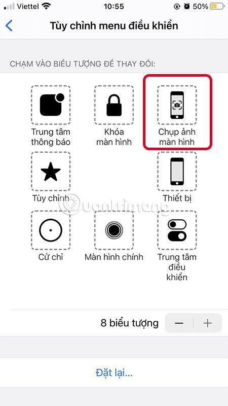 Thay đổi một nút thành chụp màn hình iPhone