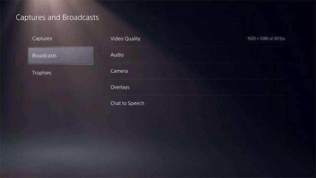 Các tùy chọn Broadcasts