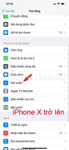 Tìm cài đặt nút Sườn trên iPhone X trở lên