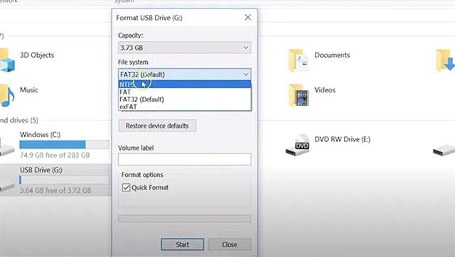 Chuyển sang định dạng NTFS