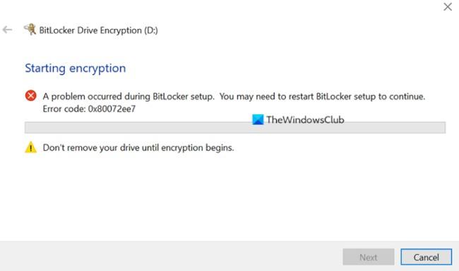 BitLocker gặp lỗi khi cài đặt