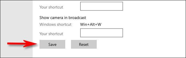 Có thể thay đổi phím tắt cho các chức năng khác