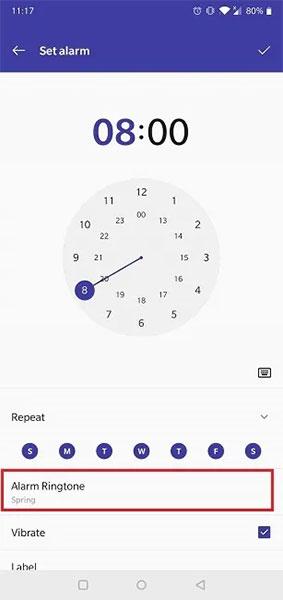 Nhấn vào tùy chọn Alarm Ringtone