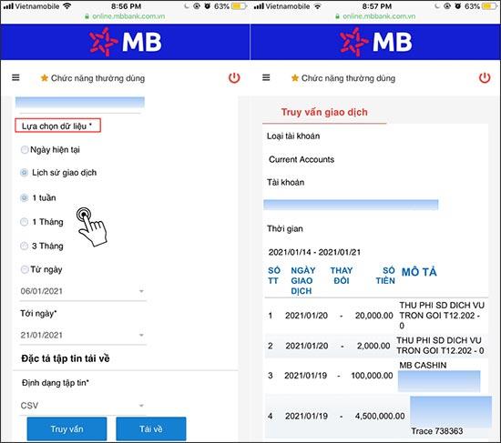 Cách xem lịch sử giao dịch MBBank