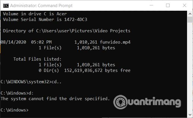 Câu lệnh này máy của Quantrimang không thực hiện được vì không có ổ đĩa D