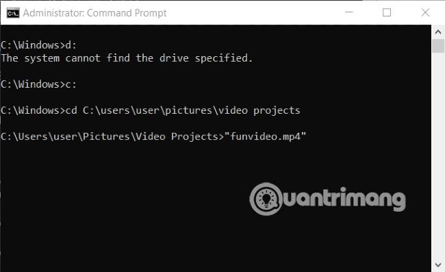 Cách tìm và mở file bằng Command Prompt
