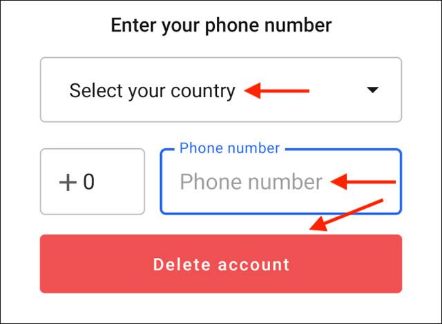 """Nhấn vào """"Delete Account"""""""