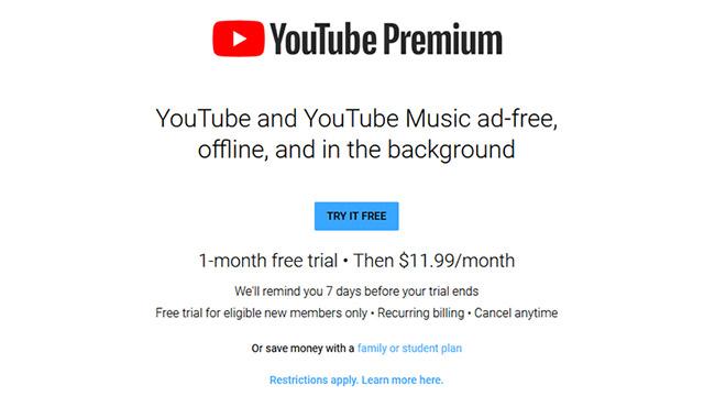 Giá thuê bao YouTube Premium