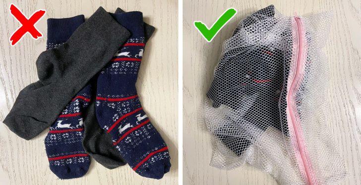 Giặt đồ lót và tất mà không có túi giặt