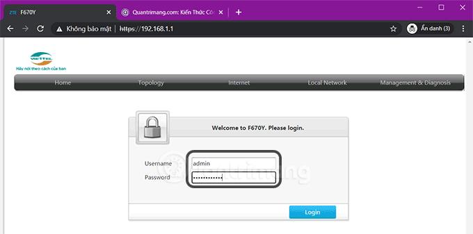 Nhập mật khẩu đăng nhập modem