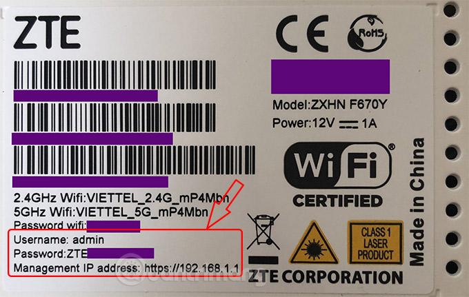 Xem mật khẩu, tên đăng nhập ở mặt sau modem