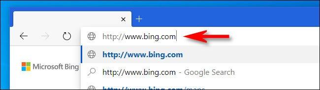 """Nhập """"bing.com"""""""