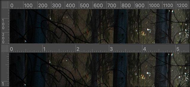Thước hiển thị pixel và inch.