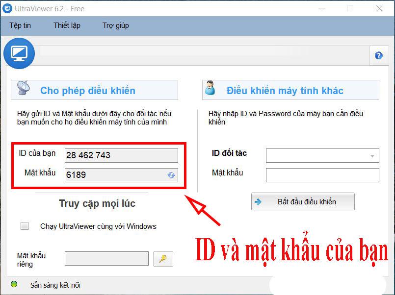 Những người khác chỉ có thể điều khiển máy tính nếu bạn đã chia sẻ ID và mật khẩu UltraViewer với họ