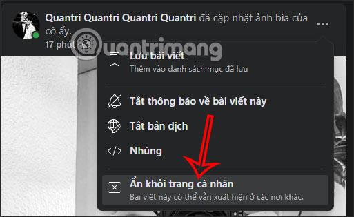 Ẩn thông báo Facebook PC