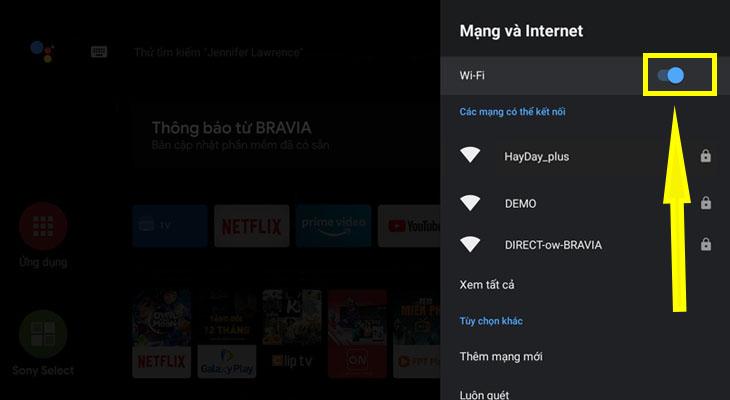 Chọn bật Wifi