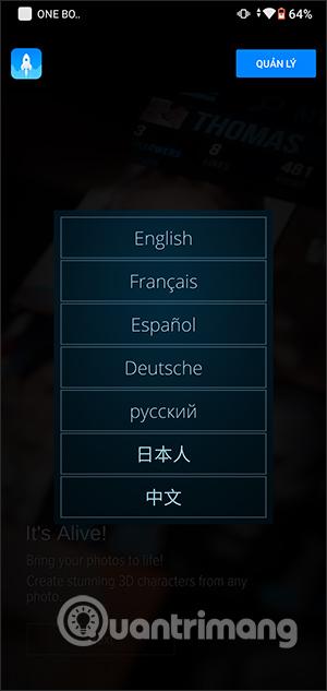 Chọn ngôn ngữ hiển thị