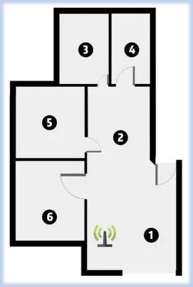 6 điểm được chọn để kiểm tra cường độ và tốc độ tín hiệu WiFi