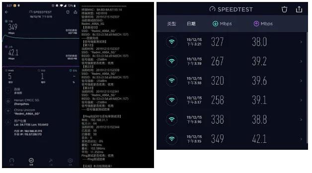 Tốc độ và cường độ tín hiệu WiFi lần lượt được kiểm tra