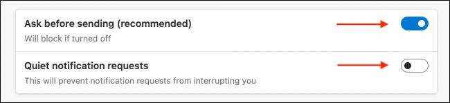 """cần chọn tùy chọn """"Ask Before Sending"""""""