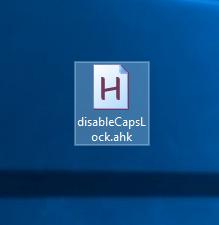 Đổi tên file văn bản thành disableCapsLock.ahk