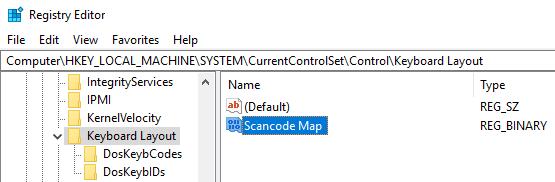 """Đặt tên giá trị là """"Scancode Map"""""""