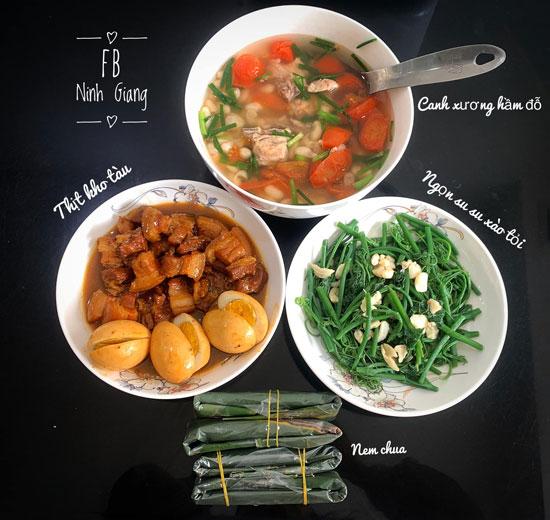Thịt kho tàu, ngon su su xào tỏi, canh xương hầm đỗ, nem chua.