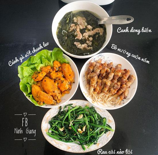 Cánh gà sốt canh leo, canh rong biển, bò nướng cuộn nấm, rau cải xào tỏi.