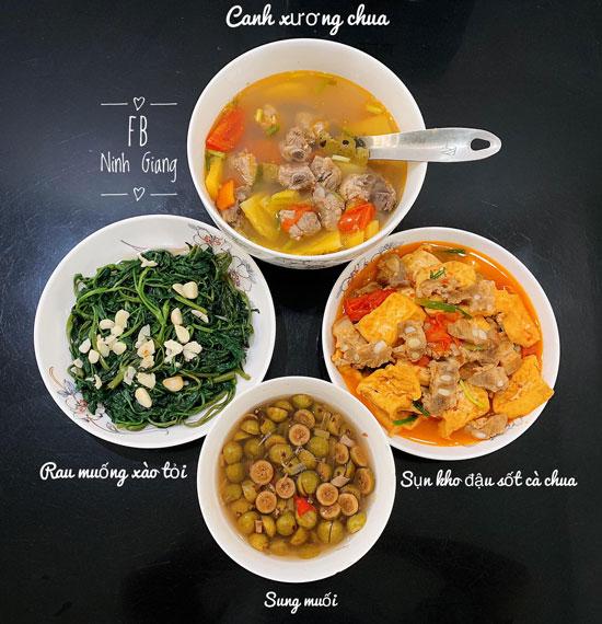 Rau muống xào tỏi, canh xương chua, sụn kho đậu xốt cà chua, sung muối.