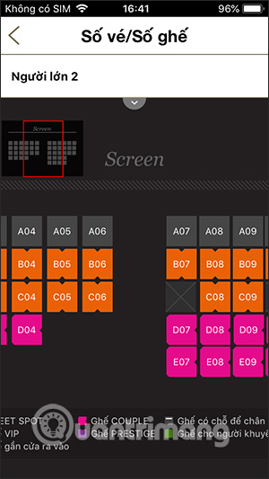 Chọn ghế xem phim