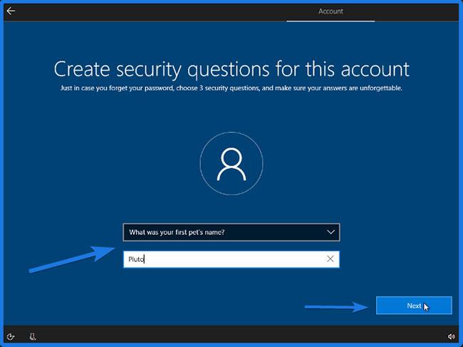 Tạo câu hỏi bảo mật cho tài khoản