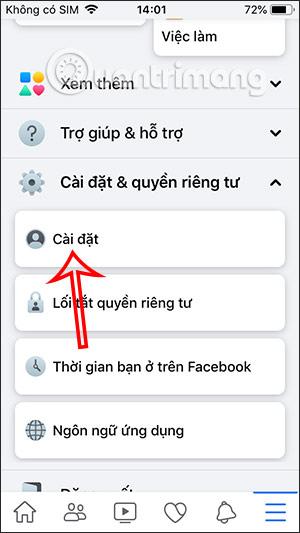 Cài đặt trên Facebook
