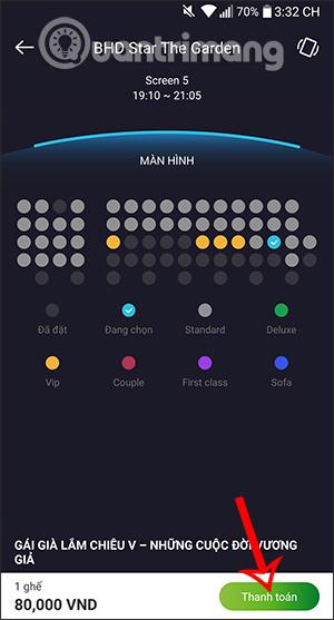 Cách đặt vé xem phim online trên VCB - Mobile B@nking