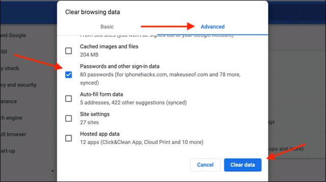 """Nhấp vào nút """"Clear Data"""""""