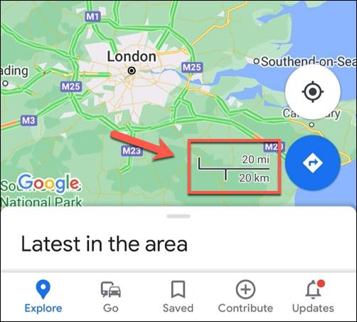 Trên dụng ứng dụng di động Google Maps
