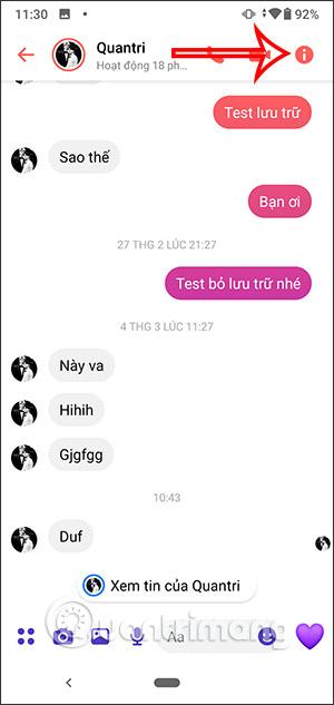 Giao diện nhắn tin