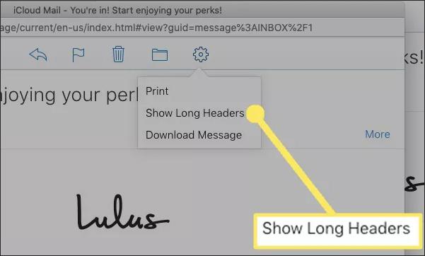 Chọn hiện header iCloud email