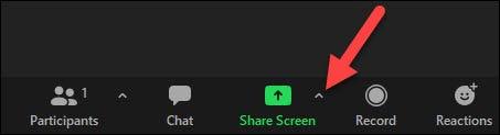 """Bấm vào mũi tên nhỏ bên cạnh nút """"Share Screen"""""""