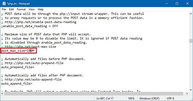 Thay đổi giá trị cho upload_max_filesize và post_max_size thành kích thước bạn muốn